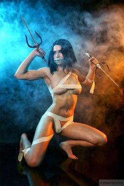 Cosplay Mileena alternate costume Mortal Kombat 9 by AsherWarr